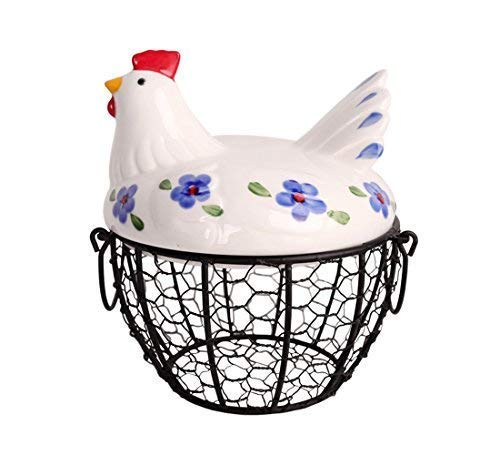 Farmhouse Style Egg Storage Basket, Chicken Design Egg Basket,Multipurpose Storage Tool for Fruit and Vegetable
