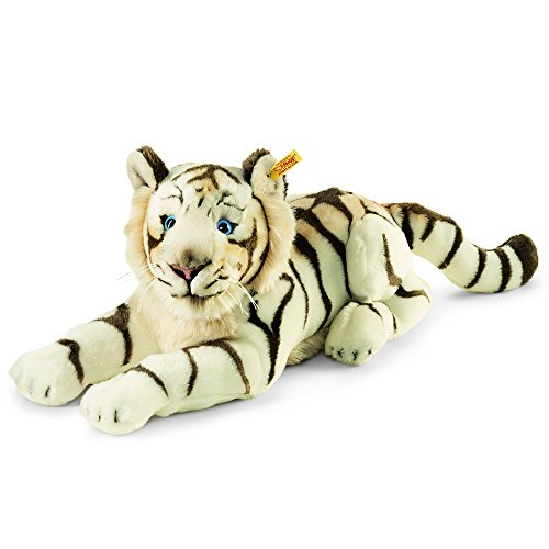Steiff Bharat The White Tiger, Striped White, 18