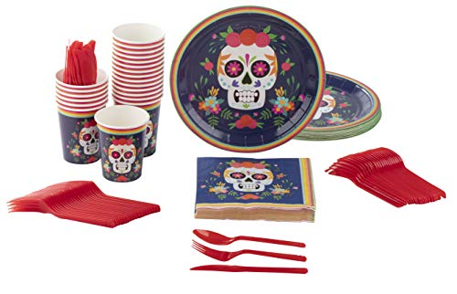 Disposable Dinnerware Set - Serves 24 - Day of The Dead Party Supplies for Kids Birthdays, Dia De Los Muertos Skull Design, Includes Plastic Knives, Spoons, Forks, Paper Plates, Napkins, Cups ()