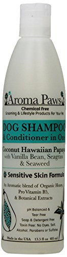 Aroma Paws 13.5 oz. Luxury Dog Shampoo & Conditioner in One Coconut Papaya: Sensitive Skin