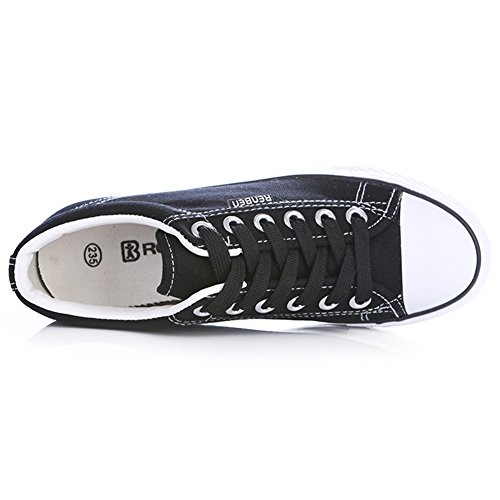 Renben Filles Femmes Plate-forme Classique Bas Talon Compensé Toile Espadrilles Formateurs De Mode Lace Up Espadrille Chaussures Wedge-noir