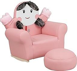 Flash Furniture HR-27-GG Kids Little Girl Rocker Chair and Footrest, Pink