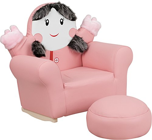 Flash Furniture Kids Pink Little Girl Rocker Chair and Footrest by Flash Furniture