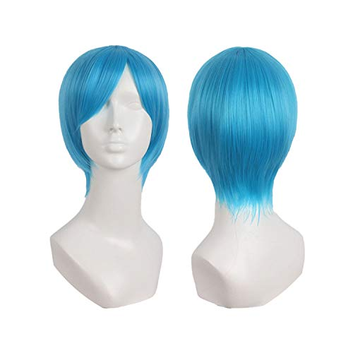 world-palm Short Straight Wigs Blonde Dark Red Green Blue Natural Cosplay Wig Costume Heat Resistant Synthetic Hair Hairpieces,1B/30HL,10inches,China -