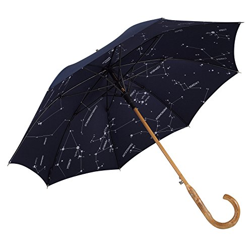 Balios Prestige Walking Umbrella, Real Wood Handle & Bamboo Shaft, Auto Open, Windproof Designed in UK (Dark Navy with Constellations ()