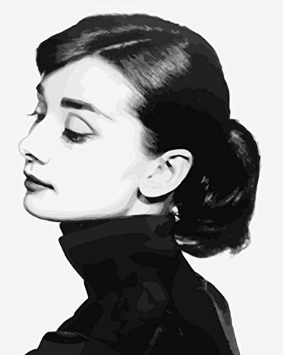 Kkxka Frameless Oil Painting Picture Coloring by Numbers DIY Draw Wall Art Canvas Figure Paint Home Decor Audrey Hepburn for Living Room40X50Cm