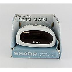 Sharp Digital Alarm Clock Large LED Display White Compact Size SPC095B