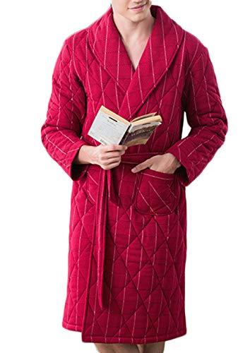 Dimensioni Pigiama A Robes Righe colore Accappatoio Notte Risvolto Vestaglia Tre Da Strati M Dafrew Calda Maglia Red Spessa In Con Uomo Red HISxwA
