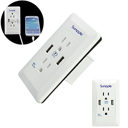 Sumpple 2 Outlet Charger Wall Mounted Adapter