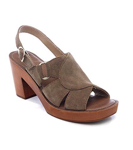 Wood Latigo Brown - Latigo Iris Suede Heeded Sandal (7 M US, Cocoa)