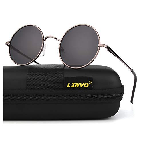 LINVO Retro Round Circle John Lennon Polarized Sunglasses Hippie for Men Women, L: Gun Frame/Grey ()