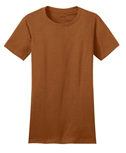 Joe's USA(tm) - Ladies 4.3-ounce, 100% soft spun cotton T-Shirts-Burnt Orange-L -