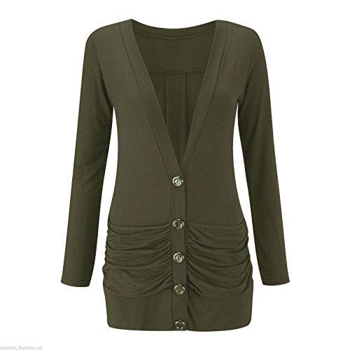 M Pull Ruch Femmes Dames Kaki Manches Fashions 3XL Top Longues Cardigan Bouton Poches S Boyfriend Islander vFfOwEwq