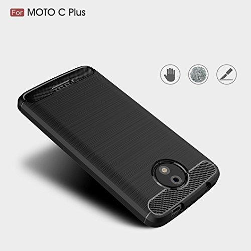 Funda Moto C Plus,Funda Fibra de carbono Alta Calidad Anti-Rasguño y Resistente Huellas Dactilares Totalmente Protectora Caso de Cuero Cover Case Adecuado para el Moto C Plus A