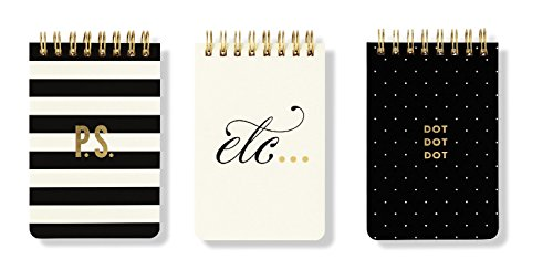 Kate Spade New York Mini Spiral Notepad Set of 3 (Black and White)