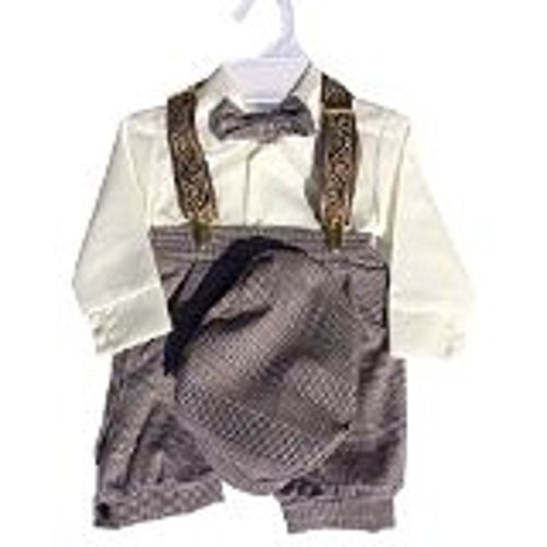 Infant & Toddler Boys Vintage Style Knickers Outfit 5-pc with Suspenders, Bowtie & Newsboy Cap (Infants 12 Months) ()