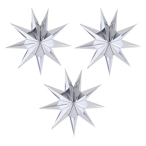 (EOPER 3 Pieces 9 Pointed Paper Star Lanterns 12 Inch Hanging Lampshade for LED Light Wedding Birthday Party Decor, Silver)