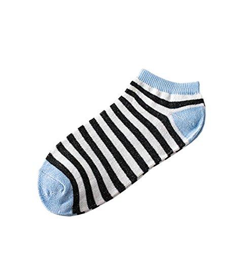 1 Paar Dames Sokken, Sagton Vrouwen Gestreepte Katoenen Sokken Korte Crew Sokken Enkelsokken Lichtblauw
