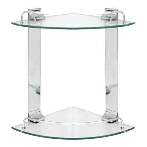 MODONA Double Corner Glass Shelf with Rail - Polished Chrome - 5 Year Warrantee