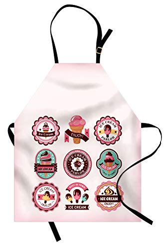 Ambesonne Dessert Apron, Adorable Cartoon Emblem Like Designs Illustration for Ice Cream Shops, Unisex Kitchen Bib Apron with Adjustable Neck for Cooking Baking Gardening, Baby Pink and Multicolor ()