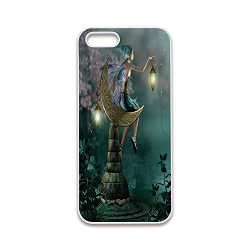 2D Print Phone Case Compatible with iPhone5 iPhone5s White Edge,Fantasy,Little Pixie with Lantern Sitting on Moon Stone Fairytale Myth Kitsch Artwork,Gold Teal Lilac,Customized 2D Print Phone Case for $<!--$8.88-->