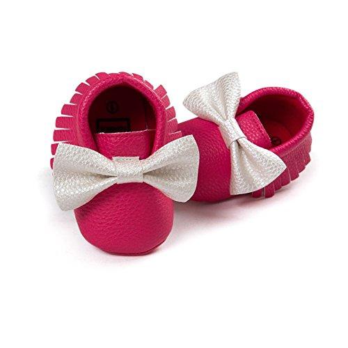 ESHOO Lovely Toddler Bebé Bowknots borla mocasín antideslizante zapatos Prewalker negro Black+Gold Talla:6-12 meses Rose+White
