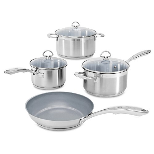 (Chantal SLIN-7C Induction 21 Steel 7-Piece Ceramic Coated Nonstick Cookware Set)