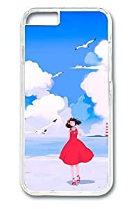 Anime Girl Seaside Cute Hard Cover Case For Iphone 4/4S Cover PC Transparent Cases