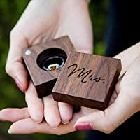 Mrs Engraved Wood Square Ring Box in Script - Wedding Ceremony Ring Bearer Box - Ring Dish