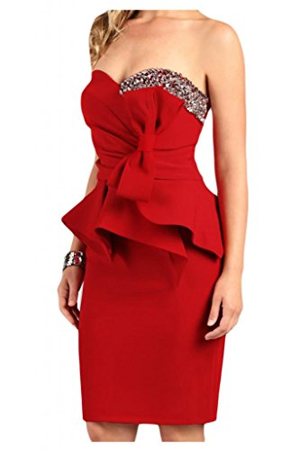 Estrellas en forma de corazón de la Toscana novia para mujer vestidos de satén corto de noche largo hasta la rodilla cóctel fiesta De antiguos alumnos Rojo
