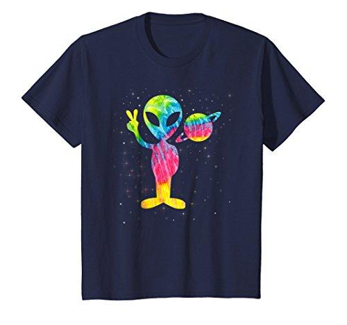 Vintage Retro 1970s Tie Dye Groovy Alien Peace T-Shirt