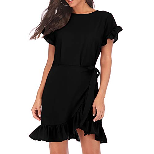 WEEPINLEE Womens Long Sleeve Round Neck Ruffles Wrap Dresses Party Dress (Black Short Sleeve, L)