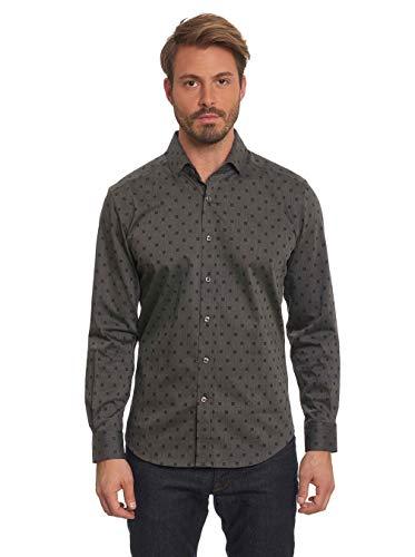 Robert Graham Gabe Long Sleeve Printed Woven Sport Shirt Big and Tall Black 5XLarge