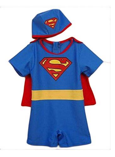 StylesILove Baby Boy Superman Swimsuit, Hat, Cape 3-pc Beach Wear (Age 4-5)