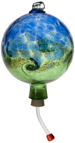 Kitras Van Glow Hummingbird Feeder Glass Ornament, Blue/Green