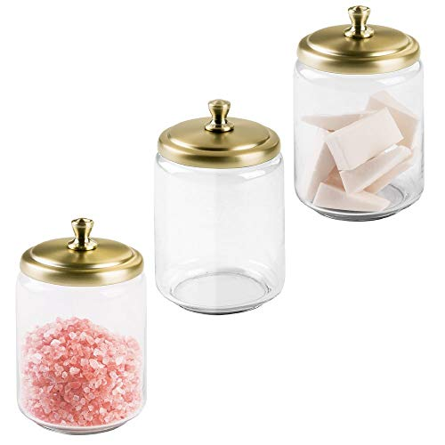 mDesign Modern Glass Bathroom Vanity Countertop Storage Organizer Canister Apothecary Jar for Cotton Swabs, Rounds, Balls, Makeup Sponges, Beauty Blenders, Bath Salts - 3 Pack - Clear/Soft Brass