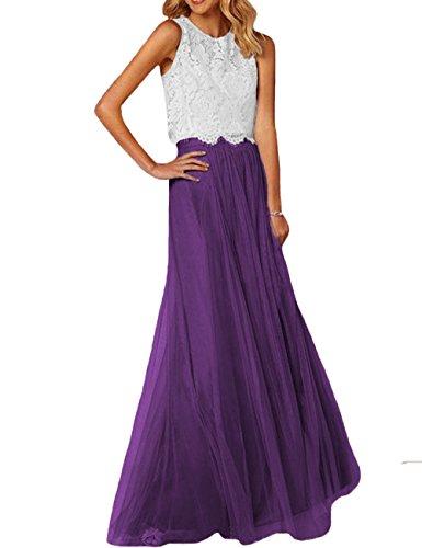 Ballkleider Frauen violett W BrautKleider Kleider Weiß Party D Stücke Brautjungfernkleider Zwei Formales O Lange O8xE4T