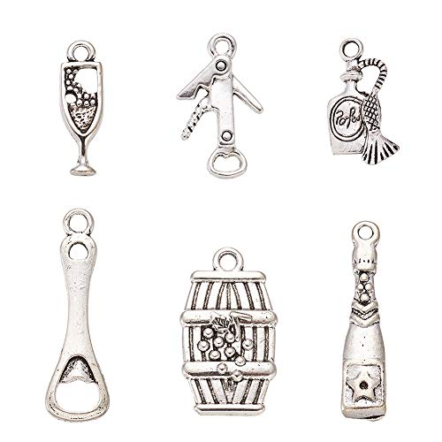Charm Barrel - Pandahall 5Sets/30pcs Mixed Wine-Tasting Themed Tibetan Style Alloy Pendants Necklace Jewelry Makings Findings Wine Bottle/Corkscrew/Bottle Opener/Glass Cup/Wine Barrel Charms Lead Free