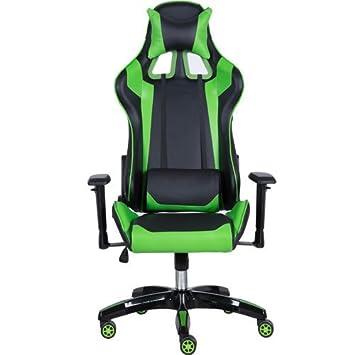 Ergonómico Gaming/silla de oficina con soporte lumbar y reposacabezas almohada PVC de alta calidad con fibra de carbono en cuero azul/negro oro terrenales, ...