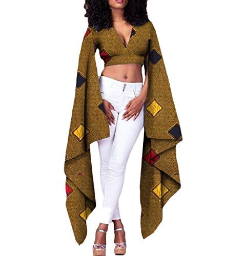 Tootless Womens Pullover Batik Sexy Africa Dashiki Crop Top Cotton T Shirts 14 L by Tootless-Women