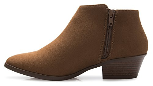 Slip Boots Women's Low Bootie Heel Walking Closed OLIVIA on Ankle Comfortable Boot K Cognac Suede Western Toe 1UqxnxfSw7