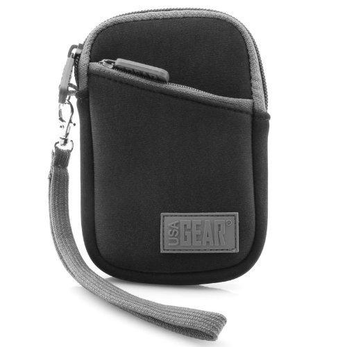 (USA Gear Carrying Case Compatible with Apple iPod Touch, iPod Classic, iPhone 5, 4s, SE - Earbud and Charger Storage, Protective Neoprene Design and Removable Wrist Strap )