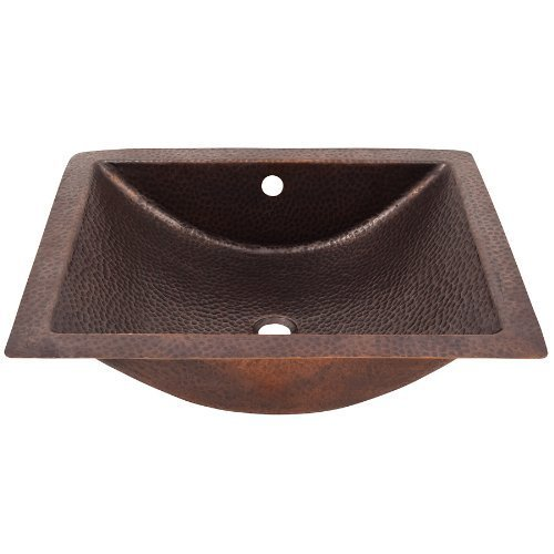 The Copper Factory CF169AN Solid Hand Hammered Copper Concave Undermount Lavatory Sink, Antique Copper by The Copper Factory by The Copper Factory