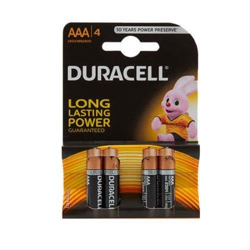 Pack of 4 Duracell AAA Alkaline 1.5V Batteries LR03/MN2400 Longer Lasting Power