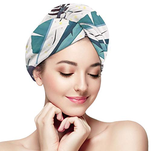 Cilantro Vintage - Vintage Colored Tropical Cilantro Microfiber Absorbent Dry Hair Cap Bath Spa Towel Hair Towel Wrap Turban Fast Head Towel with Buttons for Girl Quick Dry Magic Hats