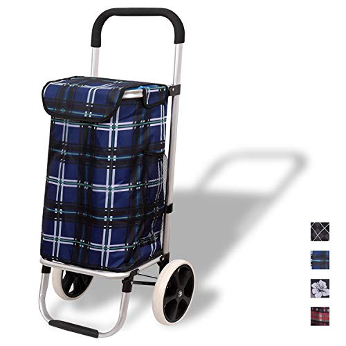 WAYTRIM Outdoor Aluminum Folding Shopping Trolley Dolly with Wheels and Bag Lightweight Grocery Laundry Utility Cart Portable for Shopping, Picnic, Travelling, Heavy Duty Aluminum Frame, Blue
