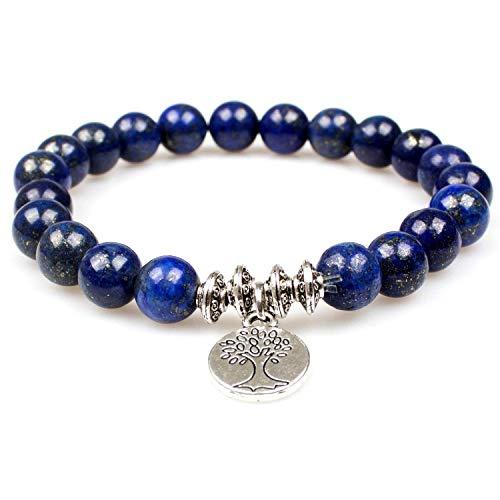 PWMEN Mens Bracelet, Handmade Lapis Lazuli Gem Semi Precious Gemstone 8mm Round Beads Stretch Bracelet(Lapis Lazuli Tree)