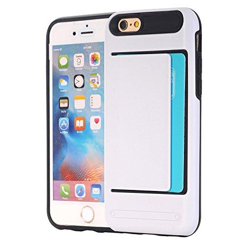 iPhone 6 / 6S (4.7) porta tarjetas de crédito Funda,dura híbrida ranuras para tarjetas para Apple iPhone 6 / 6S (4.7) Zafiro Blanco