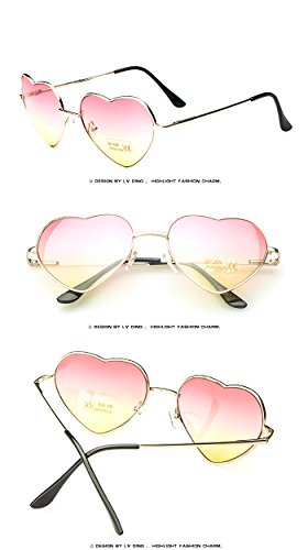 Heart shaped Sunglasses WOMEN red ladies metal Reflective LENES sun GLASSES MEN Mirror oculos de sol NEW sun - Sunglasses Blue Cartier