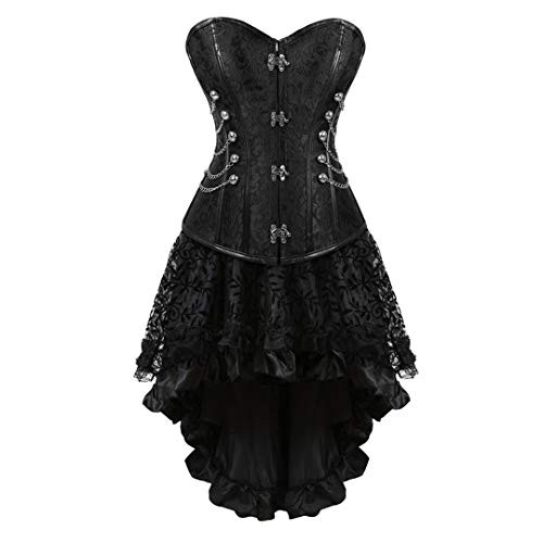 Women's Halloween Party Masquerade Gothic Brocade Lace Gothic Corset Skirt Set 5X-Large Black ()